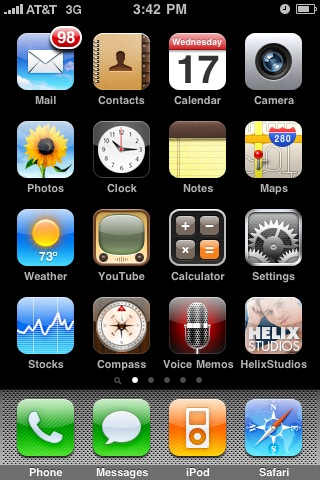 iPhone Home Screen with Helix Studios Icon