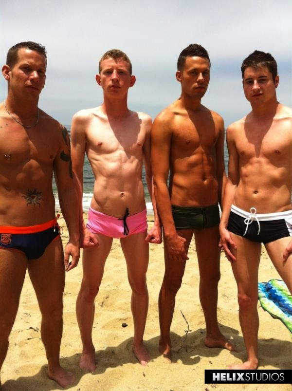 Shane Frost, Dallas Trenton, Levi Madison, and Alex Vaara showing off their new swim trunks