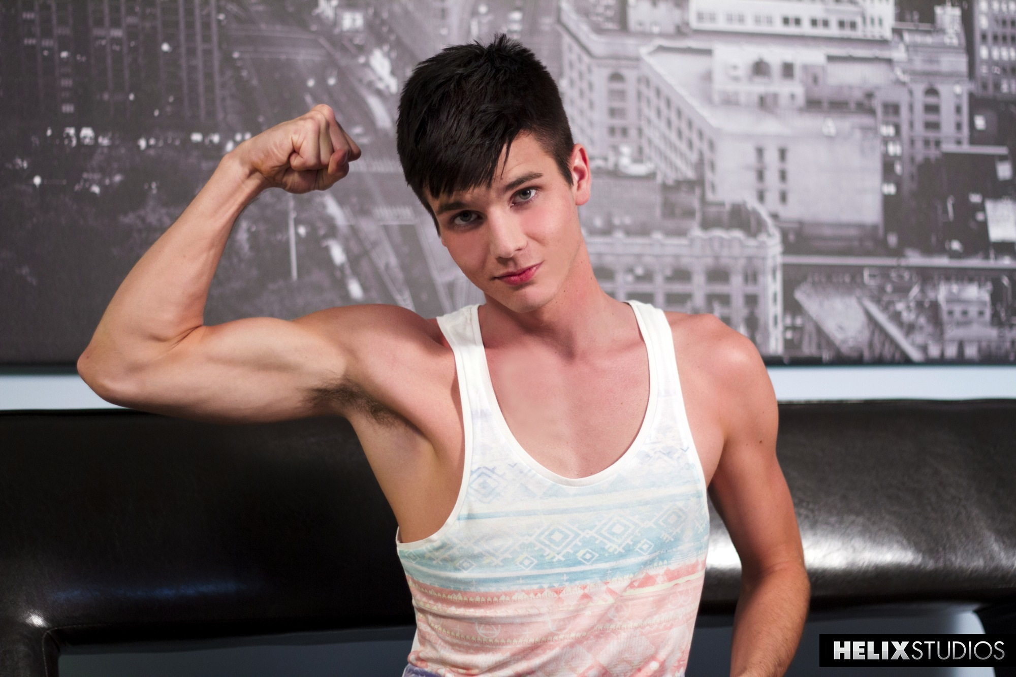 Christian Collins shows off his new gym body during his return to Helix Studios