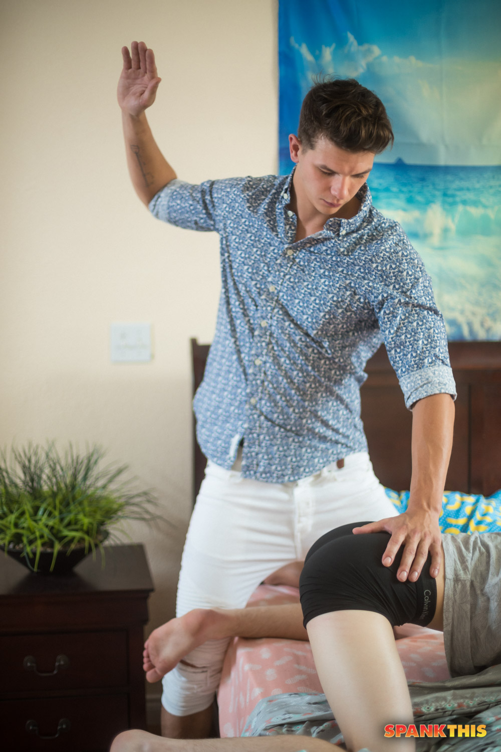 Riley Finch spanked by Johnny Hands in underwear